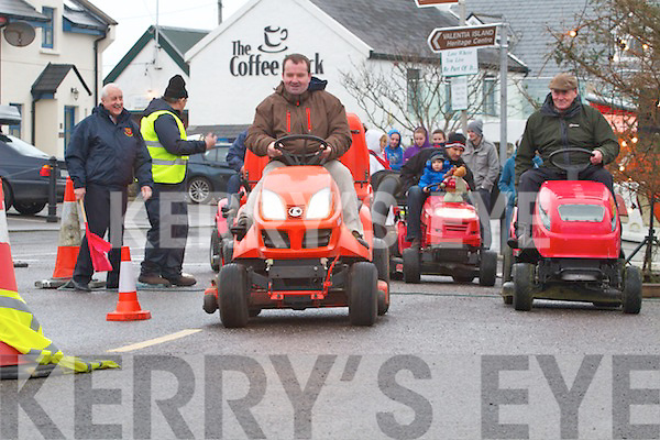 Alan Egan on the left gets off to the better start in his race with Micheál Lyne on the right who went on to win and take the overall at the Valentia Island Tractor Lawnmower race on Sunday.