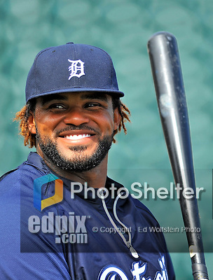 9 March 2012: Detroit Tigers first baseman Prince Fielder awaits his turn in the batting cage prior to a Spring Training game against the Philadelphia Phillies at Joker Marchant Stadium in Lakeland, Florida. The Phillies defeated the Tigers 7-5 in Grapefruit League action. Mandatory Credit: Ed Wolfstein Photo