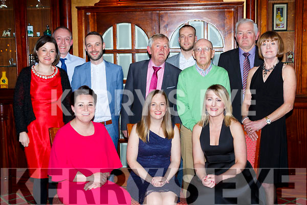Aisling Geaney, anna King and Susan Geaney. Back row l-r: Caroline and William Walsh, DJ Geaney, Ned O'Callaghan, Ian and Paul Geaney, Ger Walsh at the Castleisland Hospice dinner dance in the River Island Hotel on Saturday night