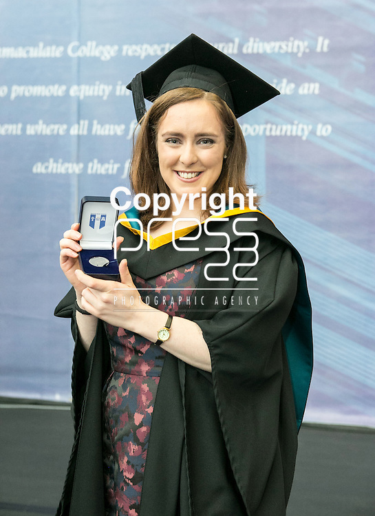 Pictured at the recent Mary Immaculate College (MIC) graduations was Claire Connaughton from Athlone, Co. Roscommon, who was awarded the Kieran Burke Fellowship for first place in Education (Foundation Subjects), as part of the B.Ed in Education &amp; Psychology programme. The fellowship is awarded by the College in memory of the late Kieran Burke, Lecturer in Psychology 1974 &ndash; 1994. 625 students from 20 counties and 3 continents were conferred with academic awards across the College&rsquo;s 27 programmes in addition to the College&rsquo;s 100th PhD award.<br /> Picture Credit Brian Gavin Press 22