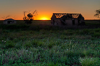 Sunset at an abandoned farm in Western Kansas