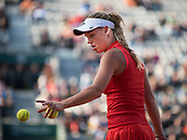 6th June 2017, Roland Garros, Paris, France; French Open tennis championships;  Caroline Wozniacki (DEN) in action during quarter final loss to Jelena Ostapenko (LAT) at the French Open at Stade Roland Garros, Paris, France