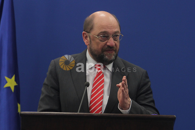 President of the European Parliament Martin Schulz speaks during a press conference in the West Bank City of Ramallah, on Feb. 10, 2014. Photo by Issam Rimawi