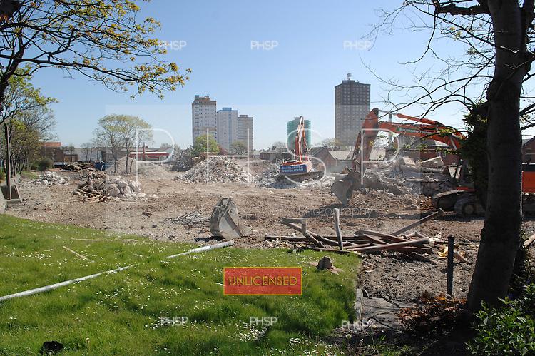 Blackpool 02.05.07.Devonshire Rd Hospital Demolition-Coleridge Rd  view east.