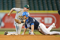 Second baseman Raynor Campbell #6 of the Baylor Bears puts the tag on Blair Dunlap #9 of the UCLA Bruins in the 2009 Houston College Classic at Minute Maid Park February 28, 2009 in Houston, TX.  The Bears defeated the Bruins 5-1. (Photo by Brian Westerholt / Four Seam Images)