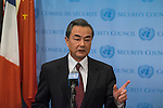 Foreign Minister of China Speaks to Press<br />