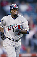 David Ortiz of the Minnesota Twins runs the bases during a 2002 MLB season game against the Los Angeles Angels at Angel Stadium, in Anaheim, California. (Larry Goren/Four Seam Images)