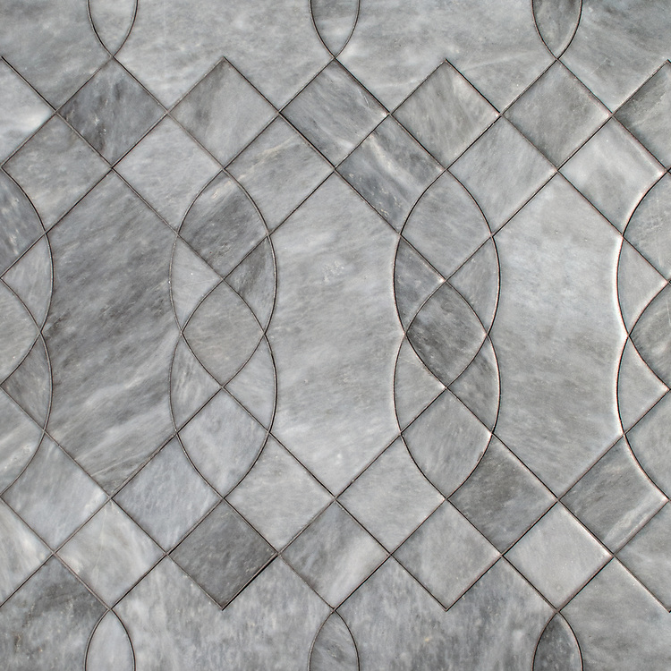 Luc, a stone waterjet mosaic, shown in venetian honed Allure.