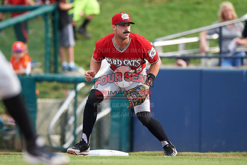 Carolina Mudcats first baseman Sal Giardina (25) during a game against the Frederick Keys on June 4, 2016 at Nymeo Field at Harry Grove Stadium in Frederick, Maryland.  Frederick defeated Carolina 5-4 in eleven innings.  (Mike Janes/Four Seam Images)
