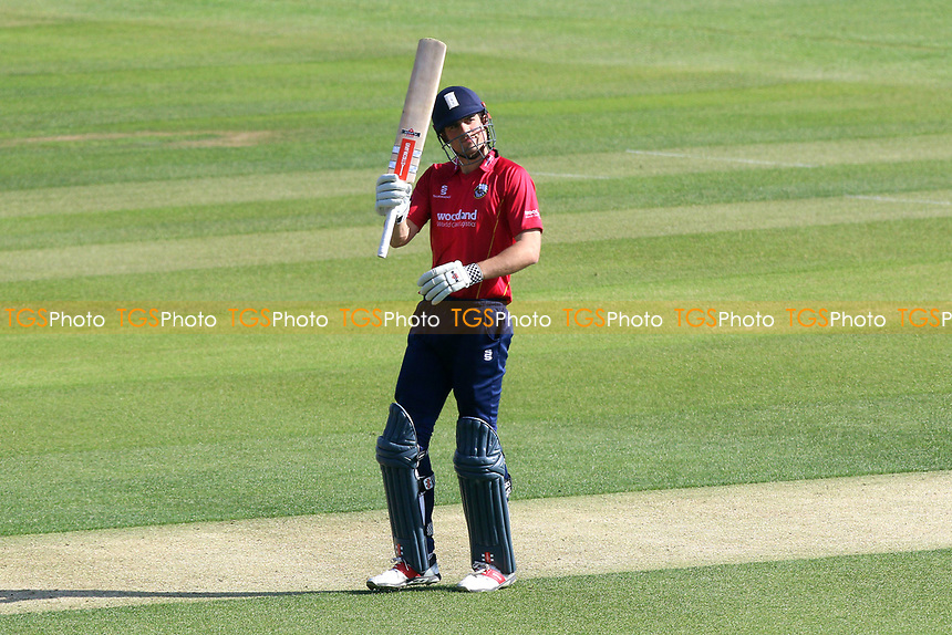 Alastair Cook of Essex celebrates scoring a century, 100 runs during Essex Eagles vs Sussex Sharks, Royal London One-Day Cup Cricket at The Cloudfm County Ground on 10th May 2017
