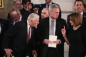 Current House Minority Whip Steny Hoyer (D-MD), current House Majority Leader Kevin McCarthy R-CA) and current House Minority Leader Nancy Pelosi (D-CA) talk as they await the arrival of the casket of former President George H.W. Bush in the U.S. Capitol Rotunda in Washington, U.S., December 3, 2018. REUTERS/Jonathan Ernst/Pool