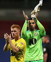 Blackburn Rovers' Harrison Reed celebrates at the end of todays match with Blackburn Rovers' David Raya<br /> <br /> Photographer Rachel Holborn/CameraSport<br /> <br /> The EFL Sky Bet Championship - Bolton Wanderers v Blackburn Rovers - Saturday 6th October 2018 - University of Bolton Stadium - Bolton<br /> <br /> World Copyright © 2018 CameraSport. All rights reserved. 43 Linden Ave. Countesthorpe. Leicester. England. LE8 5PG - Tel: +44 (0) 116 277 4147 - admin@camerasport.com - www.camerasport.com