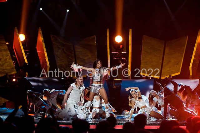 Kiev, Ukraine.May 20, 2005 ..A rehearsal performance by Ruslana and her company. She is the reason that The Eurovision Song Contest is held in the Ukraine in 2005, after she won the year before in Istanbul with a stomping performance of her 'Wild Dance'. Ruslana has become a national icon, and is the official Ukrainian artist of the year.