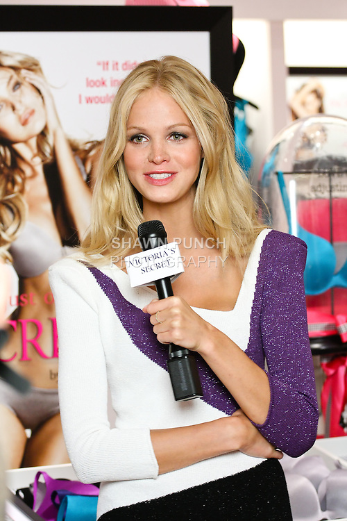 """Erin Heatherton being interviewed during the """"Incredible by Victoria's Secret"""" launch at the Victoria Secret SOHO Store, August 10, 2010."""