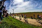 Peloton with Peter SAGAN at the 3 star cobblestone sector 25 from Saint-Hilaire to Saint-Vaast during the 2018 Paris-Roubaix race, France, 8 April 2018, Photo by Thomas van Bracht / PelotonPhotos.com | All photos usage must carry mandatory copyright credit (Peloton Photos | Thomas van Bracht)