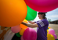 NWA Democrat-Gazette/BEN GOFF @NWABENGOFF<br /> Robyn Lindsey of Huntsville, who operates The Bus Shop as part of her Mix Designs business, decorates the repurposed school bus with balloons Wednesday, April 10, 2019, while setting up for Vintage Market Days Northwest Arkansas at the Benton County Fairgrounds in Bentonville. Vintage Market Days, with rustic repurposed furniture and decor items, original arts, crafts, clothing and food trucks will be open Friday through Sunday.