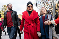 Actress and political activist Jane Fonda, center, departs a climate protest at the White House in Washington D.C., U.S., on Friday, November 8, 2019.  Activists marched from the U.S. Capitol to the White House to draw attention to the need to address climate change.  Credit: Stefani Reynolds / CNP /MediaPunch
