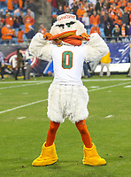 Charlotte, NC - December 3, 2017: Miami Hurricanes mascot during the ACC championship game between Miami and Clemson at Bank of America Stadium in Charlotte, NC. Clemson defeated Miami 38-3 for their third consecutive championship title. (Photo by Elliott Brown/Media Images International)