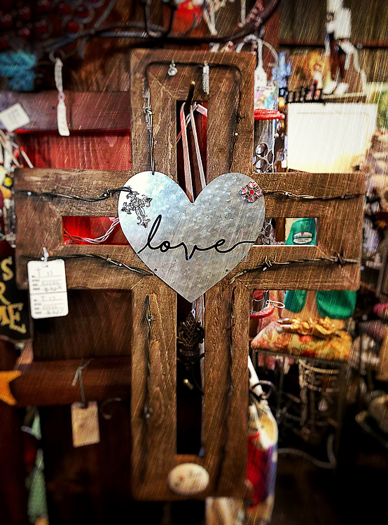 Went looking for California poppies but found love instead. Wooden Cross and Heart found in a antique store Lancaster California on  March 12, 2017. ©Fitzroy Barrett