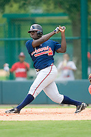 Daniel Falcon #37 of the GCL Braves follows through on his swing versus the GCL Phillies at Disney's Wide World of Sports Complex, July 13, 2009, in Orlando, Florida.  (Photo by Brian Westerholt / Four Seam Images)