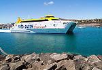 Fred Olsen Bocayna Express ferry leaving Playa Blanca, Lanzarote, Canary Islands, Spain