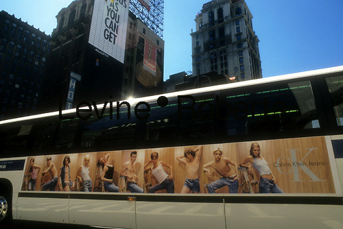 A Calvin Klein Jeans advertisement on the side of a NY City transit bus on August 18, 1995.  Klein's advertisements use sex and provocative images to test society's cultural and moral boundries. (© Richard B. Levine)