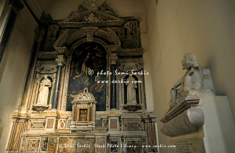 Beautifully decorated altar in the San Lorenzo Maggiore church, Naples, Italy.