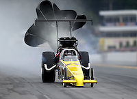 Oct 1, 2016; Mohnton, PA, USA; NHRA top alcohol dragster driver Mike Koskey during qualifying for the Dodge Nationals at Maple Grove Raceway. Mandatory Credit: Mark J. Rebilas-USA TODAY Sports