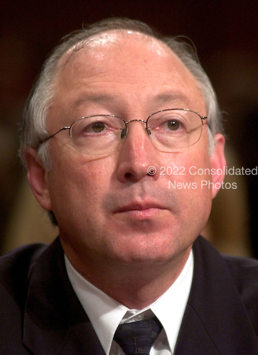 """United States Senator Kenneth Lee """"Ken"""" Salazar (Democrat of Colorado) listens as Judge Alberto R. Gonzales, Attorney General-designate testifies at his confirmation hearing before the United States Senate Judiciary Committee in Washington, D.C. on January 6, 2005.  He was elected in November, 2004 defeating Republican Peter Coors.  Senator Salazar's brother, John represents Colorado's 3rd Congressional District in the United States House of Representatives..Credit: Ron Sachs / CNP"""
