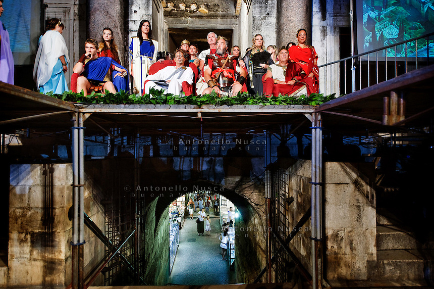 Roman legionnaires and gladiators, coming from the Gladiator School in Rome, during a performance to celebrate the Diocletian's Night in Split..