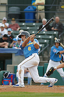 Myrtle Beach Pelicans outfielder Mark Zagunis (6) at bat during a game against the Salem Red Sox at Ticketreturn.com Field at Pelicans Ballpark on May 6, 2015 in Myrtle Beach, South Carolina.  Myrtle Beach defeated Salem 4-2. (Robert Gurganus/Four Seam Images)