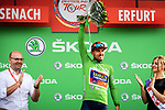 Sonny Colbrelli (ITA) Team Bahrain-Merida wins Stage 4 and the points Green Jersey of the Deutschland Tour 2019, running 159.5km from Eisenach to Erfurt, Germany. 1st September 2019.<br /> Picture: ASO/Henning Angerer | Cyclefile<br /> All photos usage must carry mandatory copyright credit (© Cyclefile | ASO/Henning Angerer)