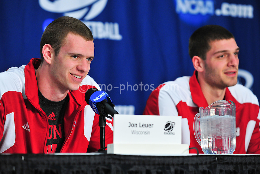 Mar 16, 2011; Tucson, AZ, USA; Wisconsin Badgers forward Jon Leuer (30) (left) and forward Keaton Nankivil (right) during a press conference on the day before the second round of the 2011 NCAA men's basketball tournament at the McKale Center.