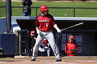 GREENSBORO, NC - FEBRUARY 22: Justin Guerrera #6 of Fairfield University waits for a pitch during a game between Fairfield and UNC Greensboro at UNCG Baseball Stadium on February 22, 2020 in Greensboro, North Carolina.
