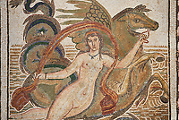 Close up picture of a Roman mosaics design depicting a Nymph lying on a sea horse, from the ancient Roman city of Thysdrus. 3rd century AD, House of Dolphins. El Djem Archaeological Museum, El Djem, Tunisia.