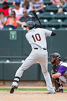 Glynn Davis (10) of the Frederick Keys at bat against the Winston-Salem Dash at BB&T Ballpark on May 18, 2014 in Winston-Salem, North Carolina.  The Dash defeated the Keys 7-6.  (Brian Westerholt/Four Seam Images)