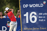 Tommy Fleetwood (ENG) on the 16th tee during the 1st round of the DP World Tour Championship, Jumeirah Golf Estates, Dubai, United Arab Emirates. 21/11/2019<br /> Picture: Golffile | Fran Caffrey<br /> <br /> <br /> All photo usage must carry mandatory copyright credit (© Golffile | Fran Caffrey)