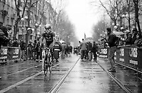 Alex Dowsett (GBR/Movistar) on his way to the start<br /> <br /> 106th Milano - San Remo 2015