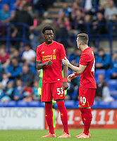 Ryan Kent of Liverpool chats to Ovie Ejaria of Liverpool during the 2016/17 Pre Season Friendly match between Tranmere Rovers and Liverpool at Prenton Park, Birkenhead, England on 8 July 2016. Photo by PRiME Media Images.