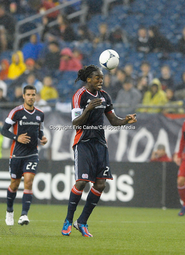 June 2 2012  New England Revolution midfielder Shalrie Joseph (21)  in game action, on the field at Gillette Stadium, in  Foxborough, Massachusetts. Eric Canha/CSM