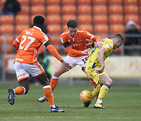 Blackpool's Jordan Thompson  battles with Bristol Rovers' James Clarke<br /> <br /> Photographer Mick Walker/CameraSport<br /> <br /> The EFL Sky Bet League One - Blackpool v Bristol Rovers - Saturday 3rd November 2018 - Bloomfield Road - Blackpool<br /> <br /> World Copyright &copy; 2018 CameraSport. All rights reserved. 43 Linden Ave. Countesthorpe. Leicester. England. LE8 5PG - Tel: +44 (0) 116 277 4147 - admin@camerasport.com - www.camerasport.com
