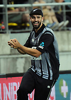 Daryl Mitchell celebrates a catch during the international Twenty20 cricket match between NZ Black Caps and India at Westpac Stadium in Wellington, New Zealand on Wednesday, 6 February 2019. Photo: Dave Lintott / lintottphoto.co.nz