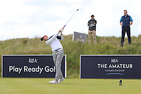 Harry Butler (Chigwell) on the 1st tee during Round 1 of the The Amateur Championship 2019 at The Island Golf Club, Co. Dublin on Monday 17th June 2019.<br /> Picture:  Thos Caffrey / Golffile<br /> <br /> All photo usage must carry mandatory copyright credit (© Golffile | Thos Caffrey)