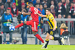 07.11.2018, Allianz Arena, Muenchen, GER, UEFA CL, FC Bayern Muenchen (GER) vs AEK Athen (GRC), Gruppe E, UEFA regulations prohibit any use of photographs as image sequences and/or quasi-video, im Bild David Alaba (FCB #27) im kampf mit Kostas Galanopoulos (AEK Athen #25) <br /> <br /> Foto &copy; nordphoto / Straubmeier