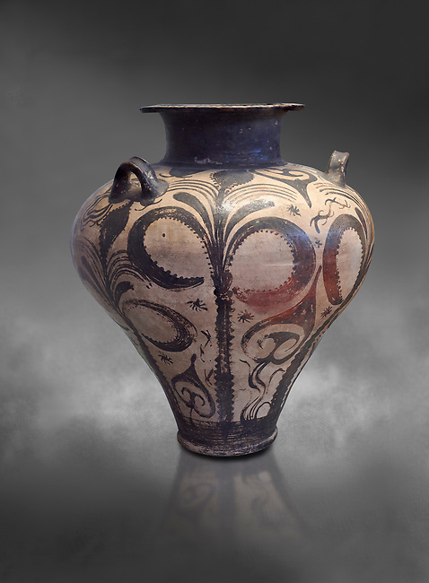 Three handled Palace Style Mycenaean amphora with palm tree floral motifs, Mycenaean cemetery, Argive Deiras, 15 cnt BC, National Archaeological Museum Athens. Cat no 7107.  Grey art Background <br /> <br /> This Mycenaean vase is distinguished by the high quality of clay and paint as well as the naturalistic rendition of the palm tree decorations