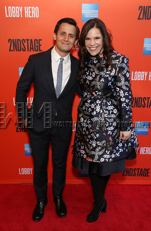 "Benj Pasek and Lindsay Mendez attending the Broadway Opening Night Performance of  ""Lobby Hero"" at The Hayes Theatre on March 26, 2018 in New York City."