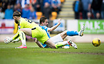 St Johnstone v Rangers&Ouml;21.05.17     SPFL    McDiarmid Park<br /> Steven MacLean slides in on Jak Alnwick only to see the ball go wide<br /> Picture by Graeme Hart.<br /> Copyright Perthshire Picture Agency<br /> Tel: 01738 623350  Mobile: 07990 594431
