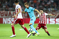 Harry Kane of Tottenham Hotspur in action with Mathieu Valbuena of Olympiacos Fc, during the UEFA Champions League match between Olympiacos Fc and Tottenham Hotspur, in Karaiskaki Stadium in Piraeus, Greece. Wednesday 18 September 2019