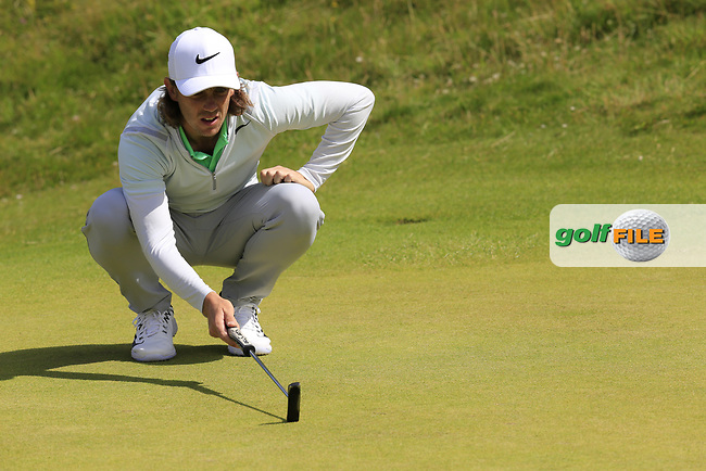 Tommy Fleetwood (ENG) lines up his putt on the 2nd green during Saturday's Round 3 of the 2017 Dubai Duty Free Irish Open held at Portstewart Golf Club, Portstewart, Co Derry, Northern Ireland. 08/07/2017<br /> Picture: Golffile | Eoin Clarke<br /> <br /> <br /> All photo usage must carry mandatory copyright credit (&copy; Golffile | Eoin Clarke)