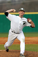 Relief pitcher Zac Manuppelli (39) of the University of South Carolina Upstate Spartans delivers a pitch in a game against the Winthrop University Eagles on Wednesday, March 4, 2015, at Cleveland S. Harley Park in Spartanburg, South Carolina. Upstate won, 12-3. (Tom Priddy/Four Seam Images)